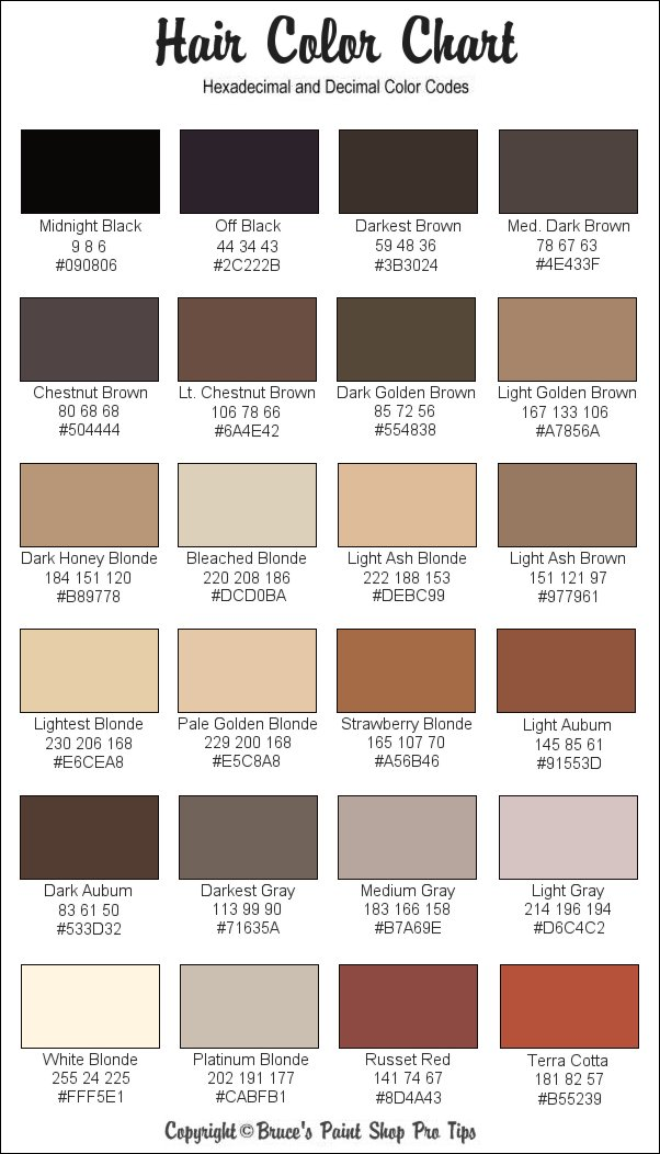 Hair Color Chart Skin Tone Hair Color Chart Skin Tone Hair Color Chart  Dark